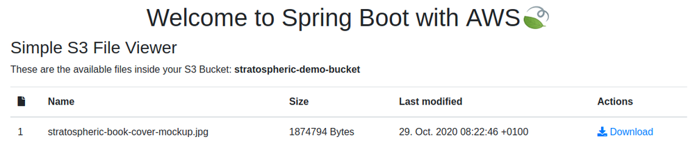 Screenshot showing the Simple S3 File Viewer within Spring Boot.