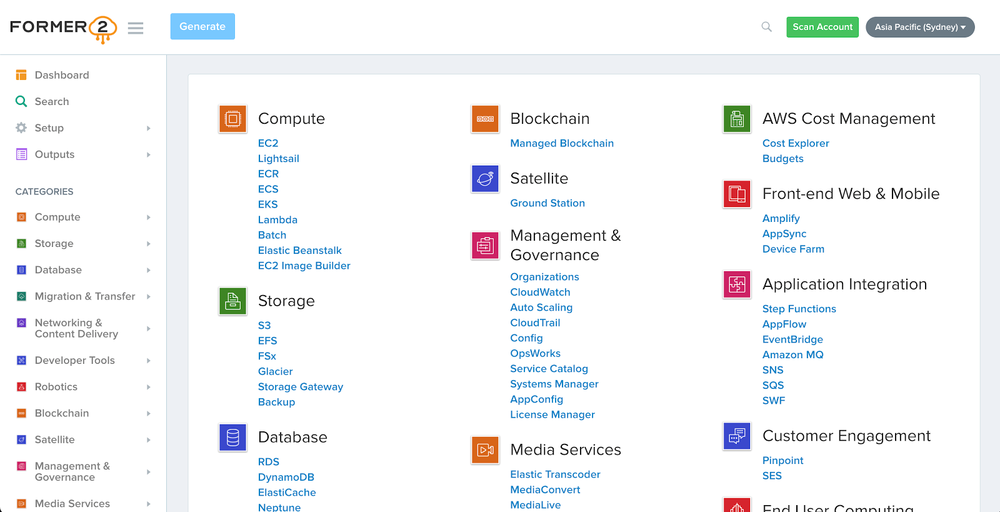 Screenshot of the dashboard showing the existing resources as part of the example.