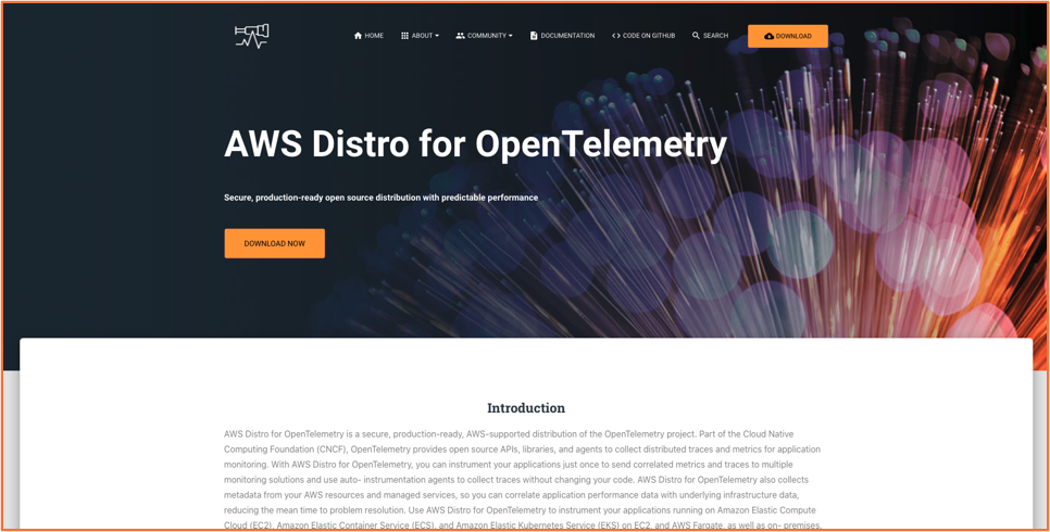 Screenshot of the AWS Distro for OpenTelemetry download page.