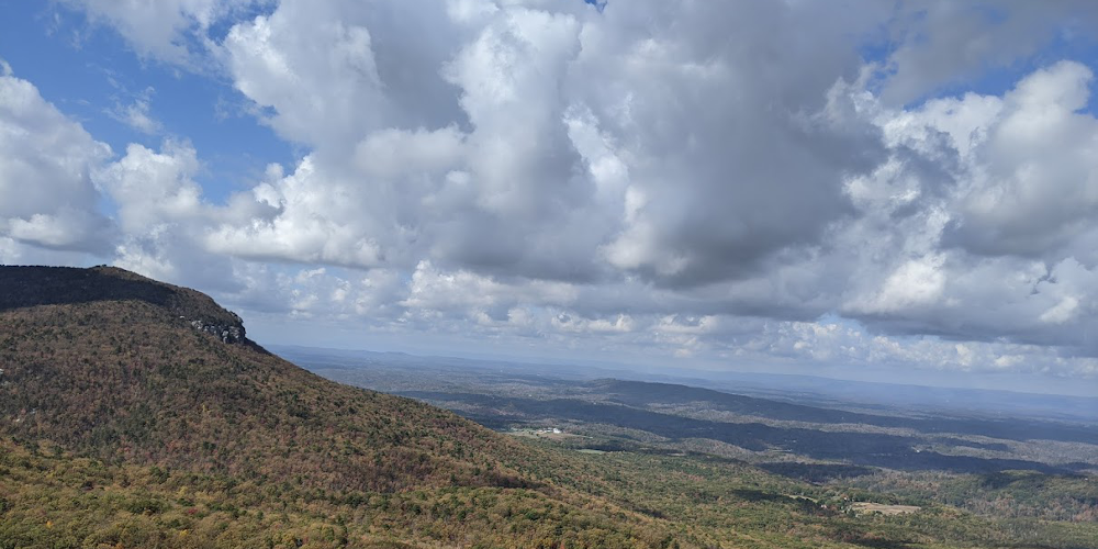 View of clouds and trees from Hanging Rock in North Carolina, Fall 2020