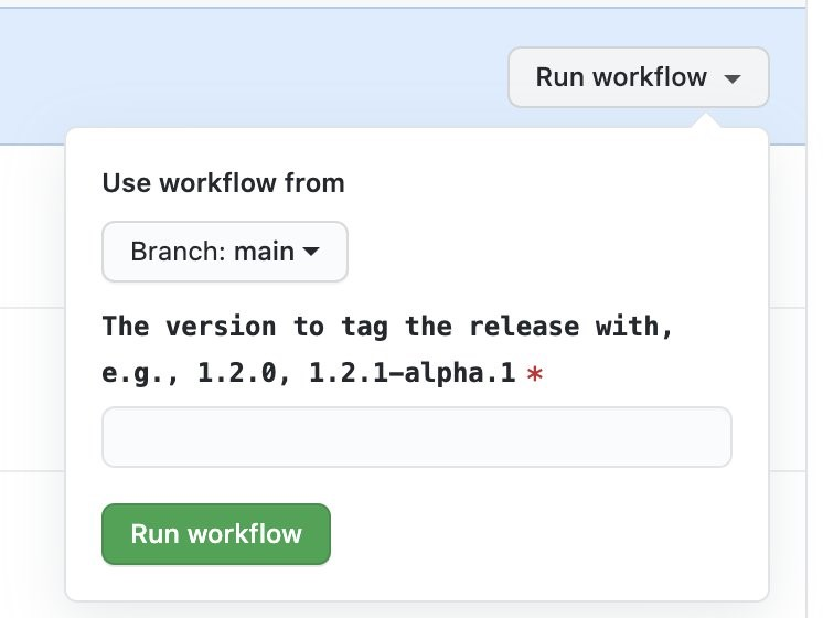 Screenshot of running workflow for release build.