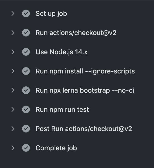 Screenshot of actions tab in GitHub detailing the steps that were run.