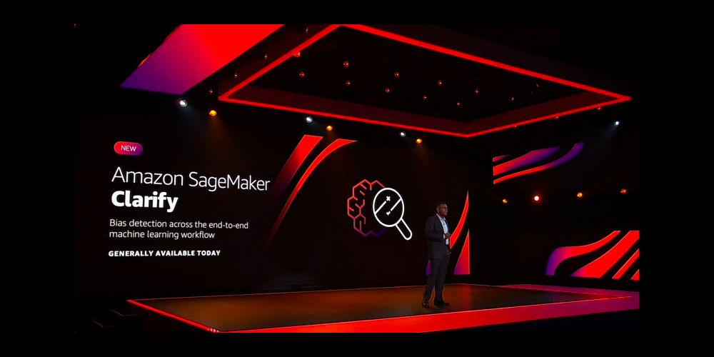 re:Invent keynote week 2 Amazon SageMaker Clarify announcement on stage