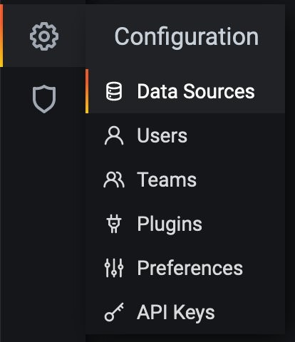 Screenshot of navigation menu displaying the Data Sources section from Settings.