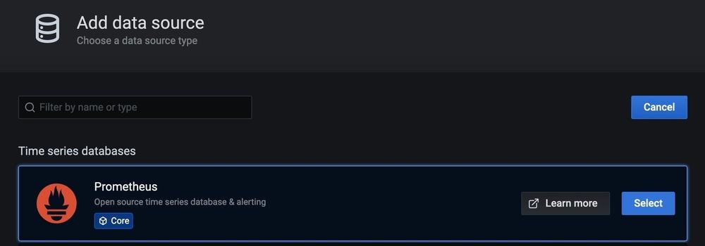 Screenshot of Add Data Source section showing Prometheus option.