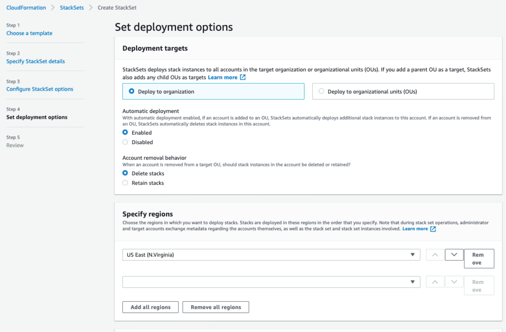 "Screenshot of the ""Set deployment options"" page."