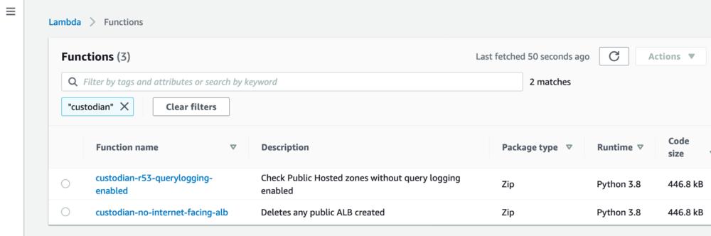 "Screenshot of the AWS Lambda console when filtering for ""custodian-""."
