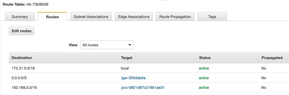 Screenshot of the configuration once the routes are edited.