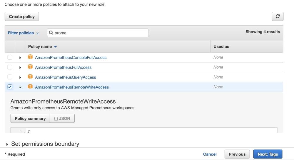 Screenshot of screen listing policies.