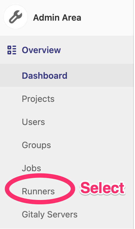 Runners option in the Admin Area dashboard