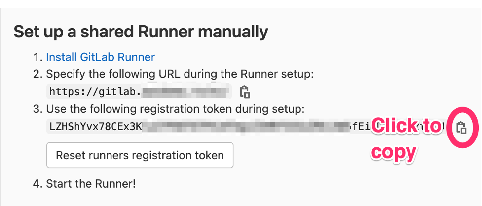 The copy button for the registration token