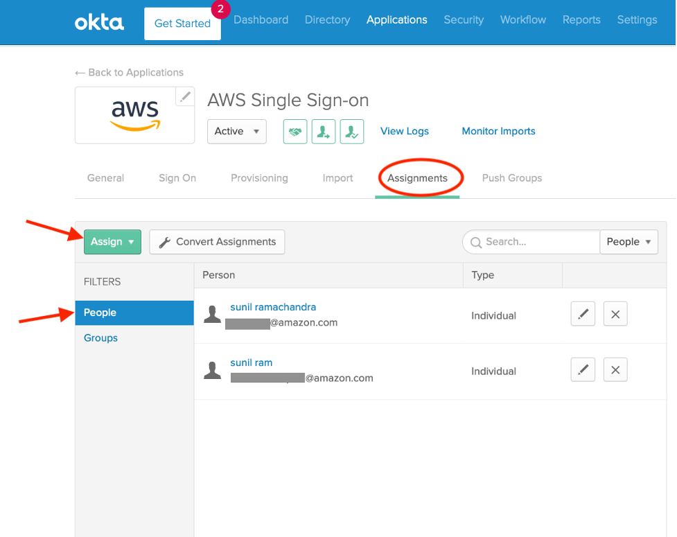 In the Okta portal, navigate to Assignments under the AWS Single Sign-On and assign the users in the organization who should have access to AMG.