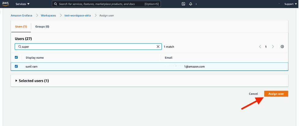 Here we are assigning the user to AMG, which we previously created through our Okta - AWS SSO SCIM integration.