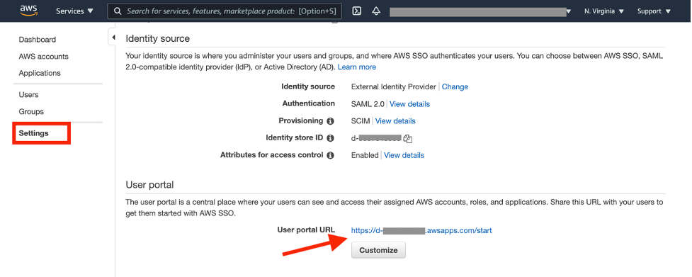 Start from the AWS SSO user portal (the URL is on the AWS SSO Settings page), redirect to Okta login page, and choose Amazon Grafana.