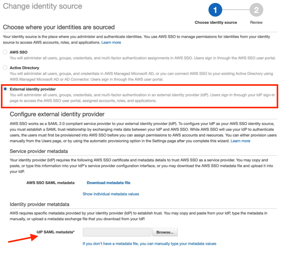Using the Okta Metadata XML downloaded previously, browse and upload IdP SAML metadata in the Identity provider SAML metadata section.