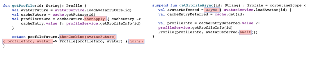 Screenshot highlighting the difference between blocking implementation versus futures and coroutines.