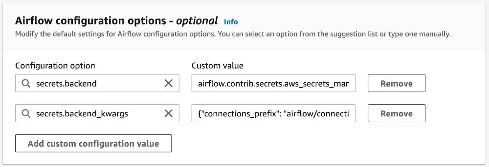 Airflow configuration options screenshot