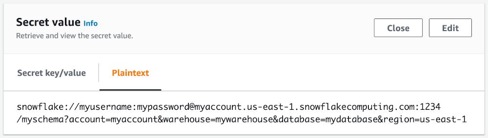 screenshot showing snowflake://myusername:mypassword@myaccount.us-east-1.snowflakecomputing.com:1234/myschema?account=myaccount&warehouse=mywarehouse&database=mydatabase&region=us-east-1