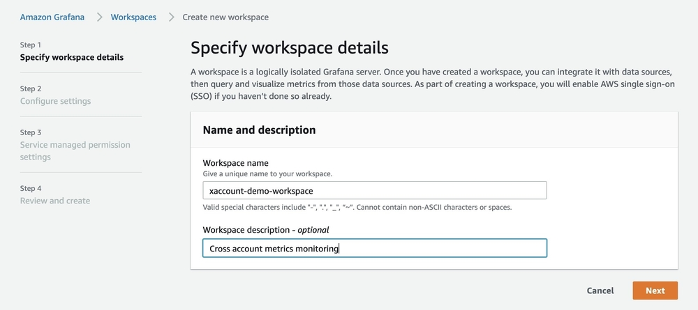 Screenshot of console specifying workspace details.