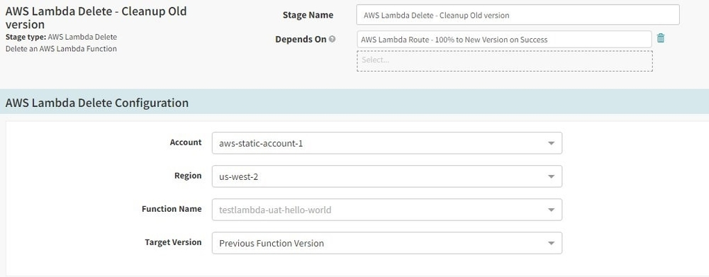 Screenshot of configurations for the Lambda Delete stage.
