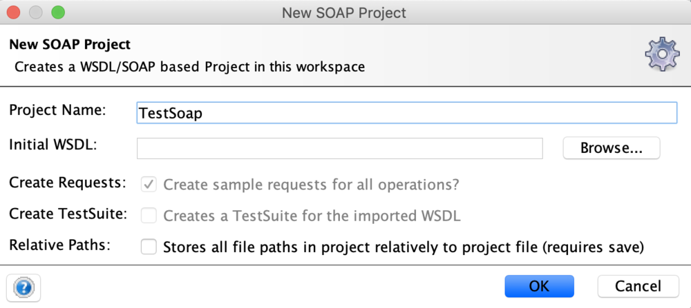 New SOAP project details where project name is TestSoap.