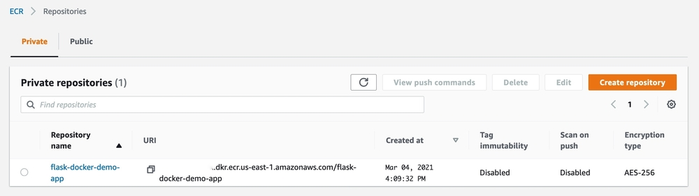 List of private repositories in the AWS console showing the flask-docker-demo-app repository.