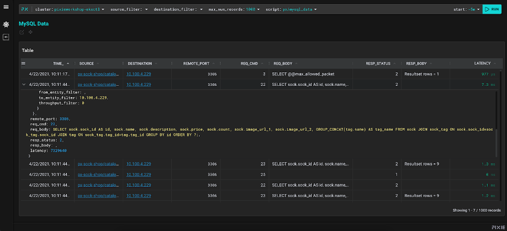 Highlights Pixie providing insight to SQL Queries originating from a Kubernetes Deployment