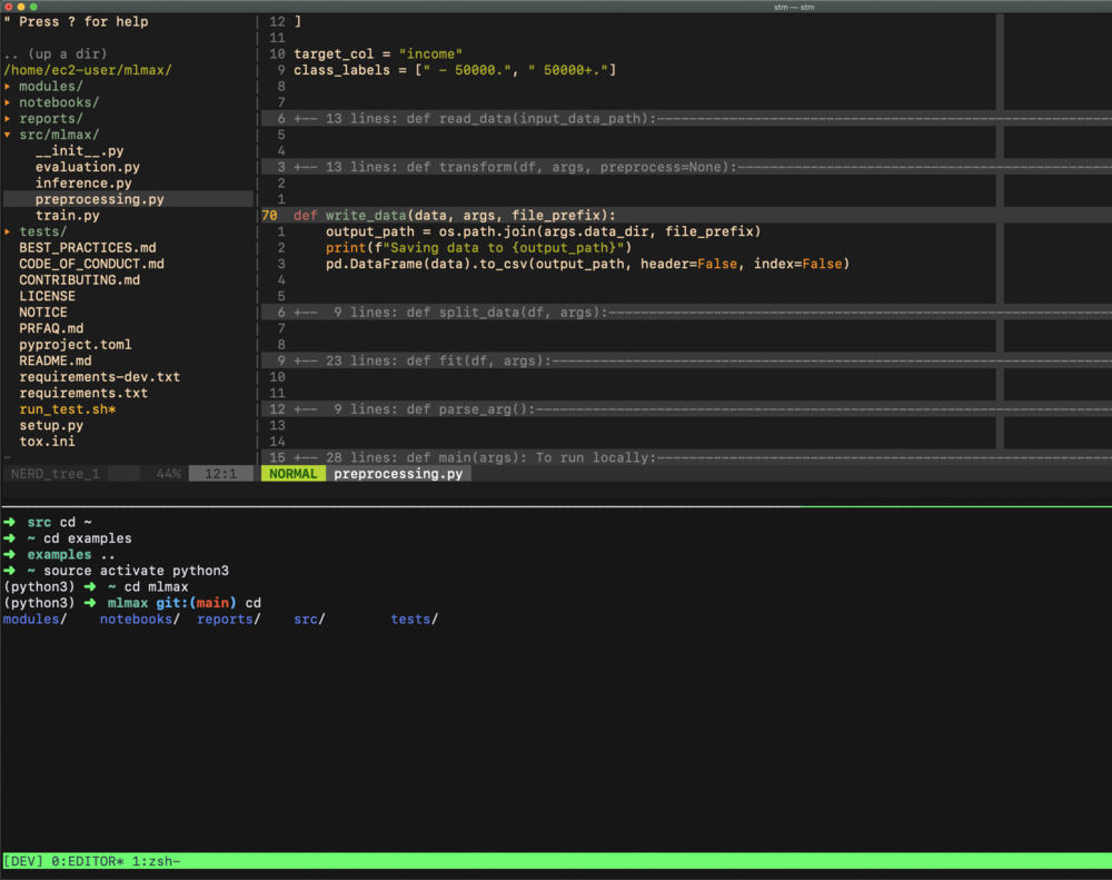 Screenshot of what the development environment should look like once the setup is complete.