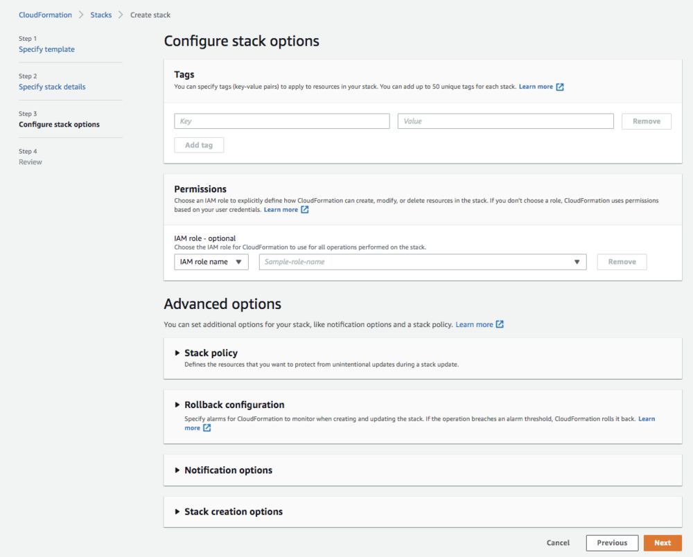 """Screenshot of the """"Advanced Options"""" in configuring the stack options."""