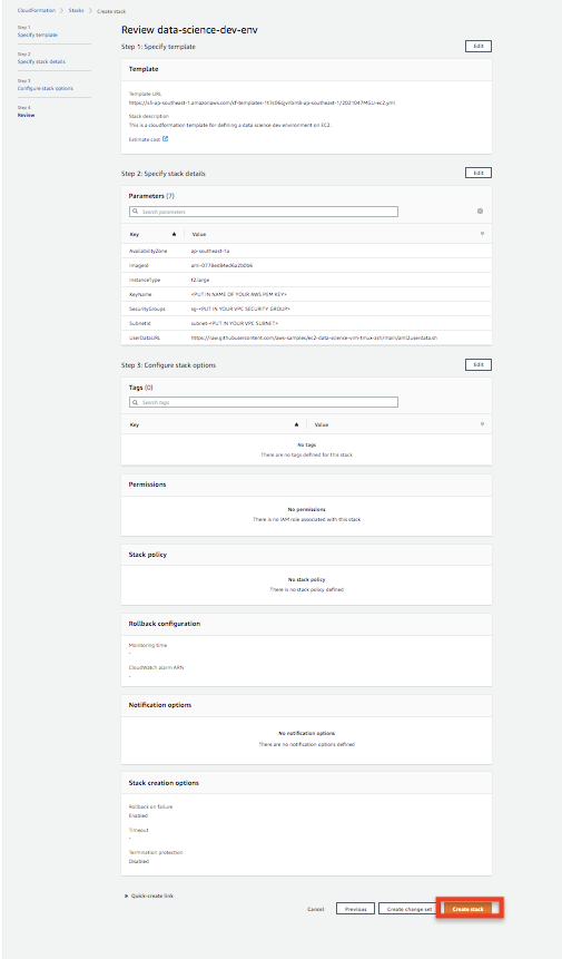 Screenshot of the settings necessary to create the stack.