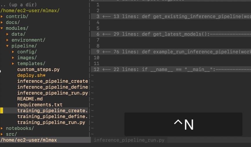 Example of navigating between files using the Nerdtree plugin.