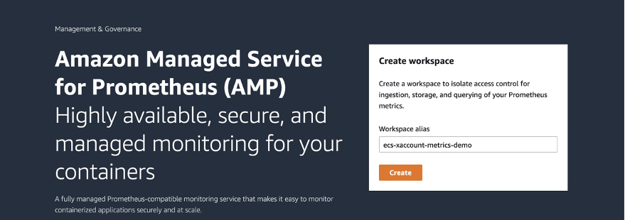 View of AWS console navigated to the AMP service