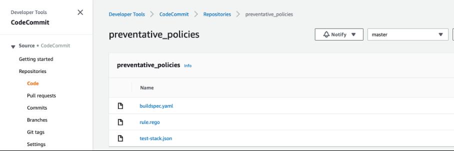 repository screenshot showing preventative policies