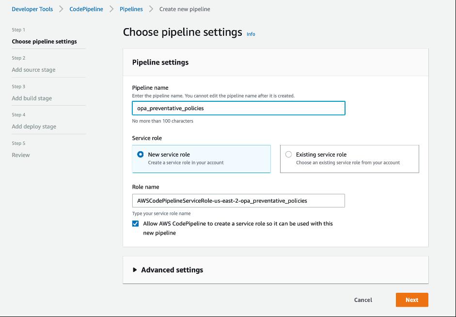 screenshot of pipeline settings showing opa_preventative_policies
