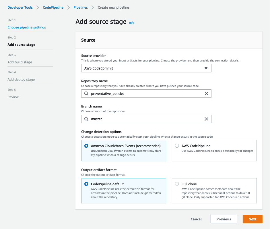 screenshot showing add source stage with AWS CodeCommit as source provider and preventative_policies as repo name