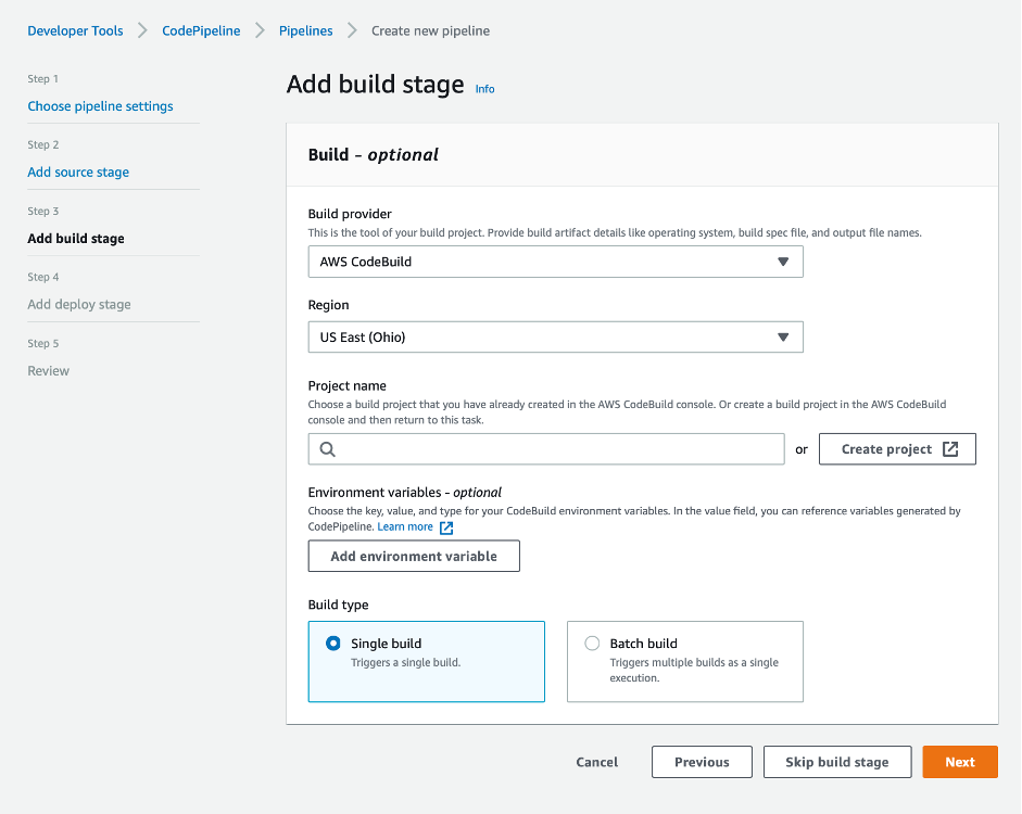 add build stage screenshot showing AWS CodeBuild as teh build provider and region selected