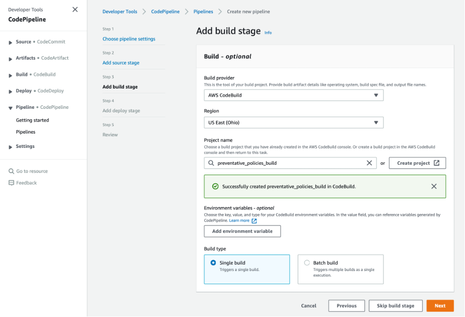 screenshot of adding build stage showing successfully created preventative_policies_build in CodeBuild