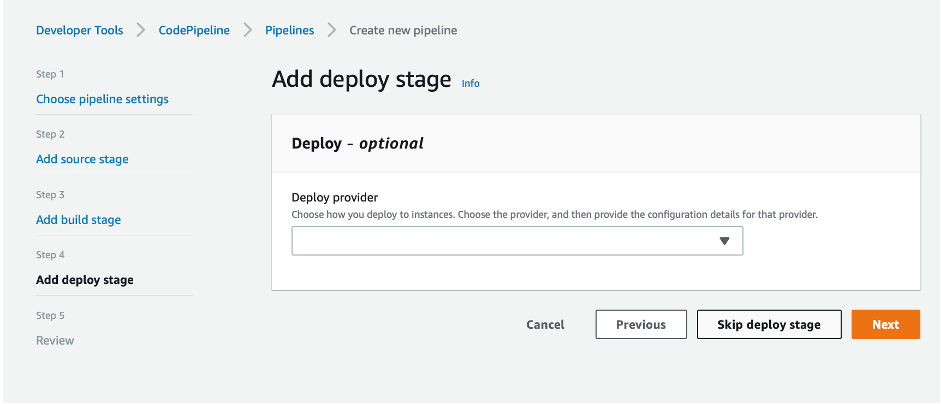 screenshot showing button to skip deploy stage