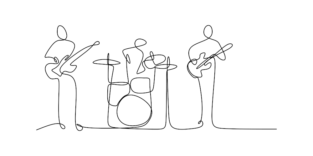 ngupakarti – stock.adobe.com continuous line drawing of jazz classical music concert performance on the stage