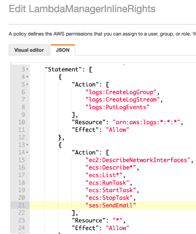 JSON file with Action showing rules for starting task, stopping, and sending email