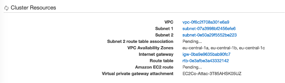 Screenshot: After creating the cluster, you will be shown a list of resources created. Note the name of the VPC and subnets as we will need them later.