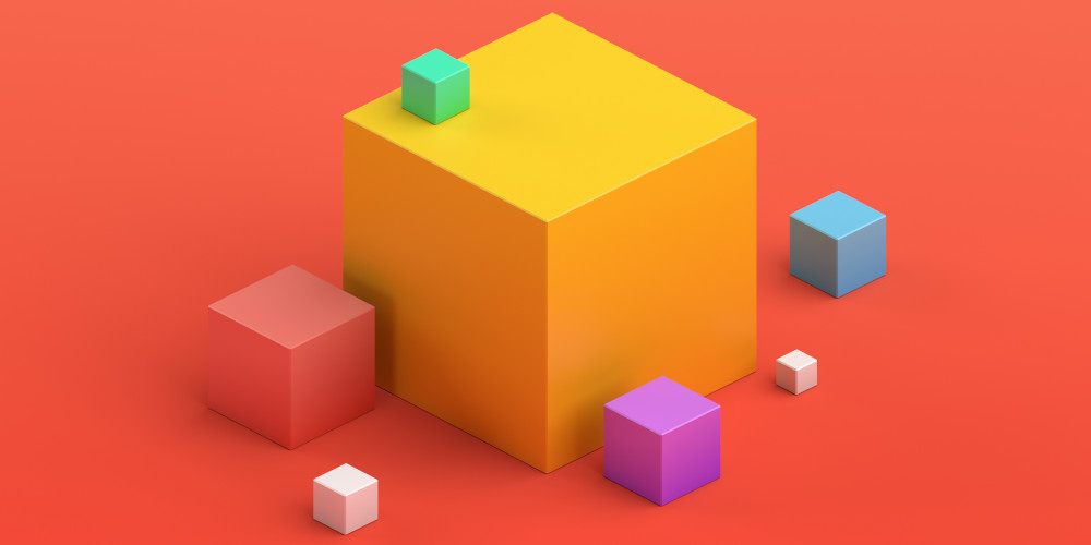 VAlex – stock.adobe.com Abstract 3d render, geometric composition, colorful background design with cubes