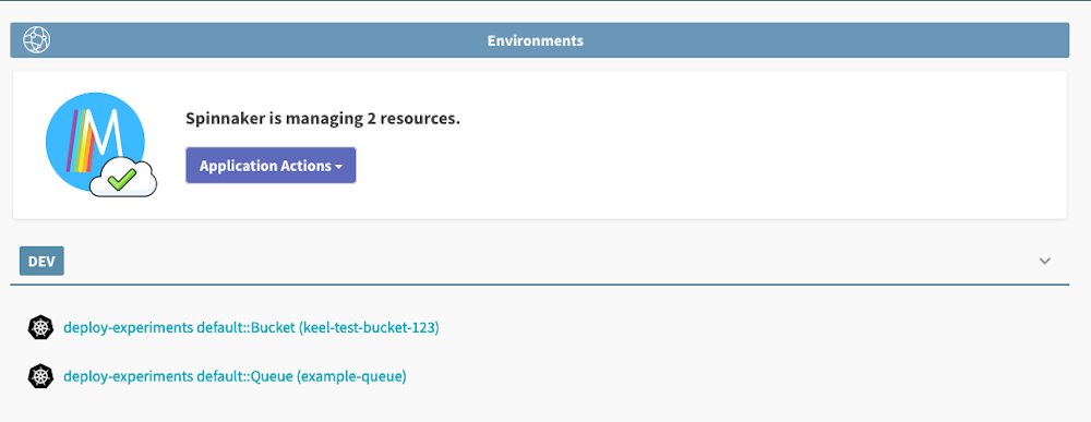 screenshot showing spinnaker is managing two resources