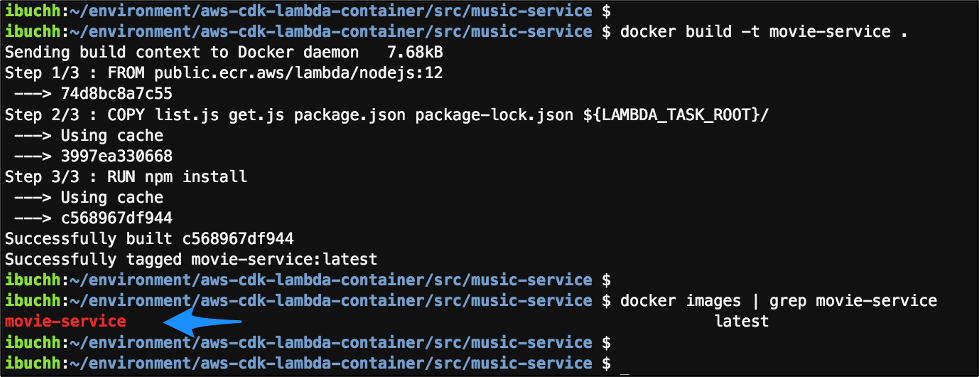 screenshot of output from running cd ~/environment/aws-cdk-lambda-container/src/movie-service docker build -t movie-service . docker images | grep movie-service