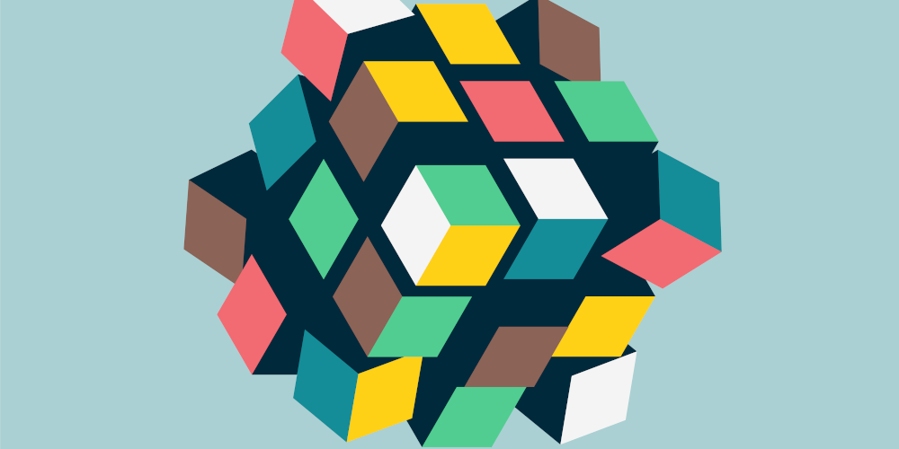 cosmokidz - stock.adobe.com - Abstract 3d cubes form, team building concept, vector illustration