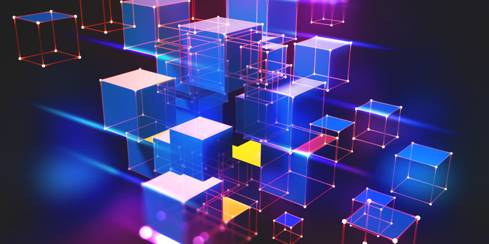 Siarhei - stock.adobe.com - Neon light. Blockchain technology. Information block in the volumetric composition. Glowing edges on a dark background. Full-color 3D illustration of an array of cubes and a polygonal