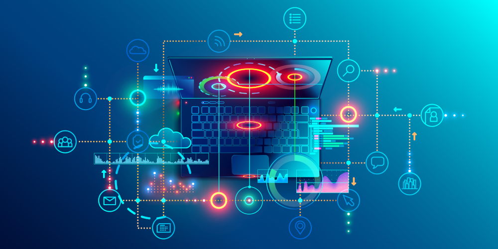 AndSus - stock.adobe.com - Programming or Software development abstract concept. Top view at screen laptop with business icons, programming language or fragments coding. Technology banner of Software developer