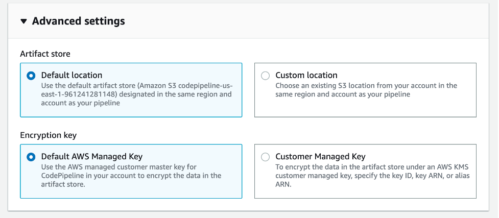 Advanced settings using default location and default AWS Managed Key