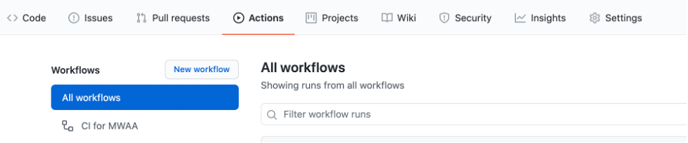 Actions menu shows CI for MWAA workflow