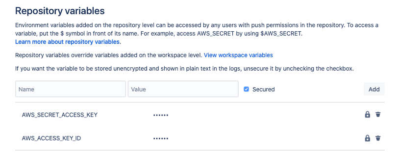 repo variables are AWS_SECRET_ACCESS_KEY AND AWS_ACCESS_KEY_ID